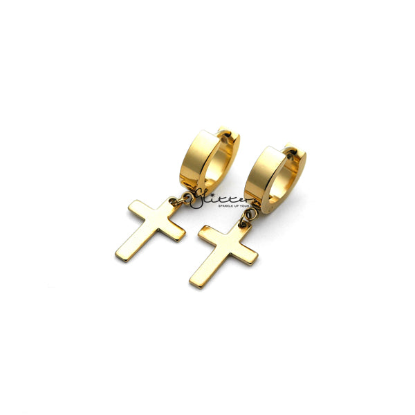 Stainless Steel Cross Dangle Hinged Hoop Earrings - Gold