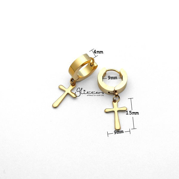 Stainless Steel Cross Drop Huggie Hoop Earrings - Gold