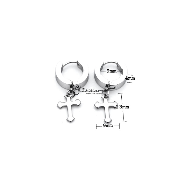 Stainless Steel Dangle Cross Huggie Hoop Earrings - Silver