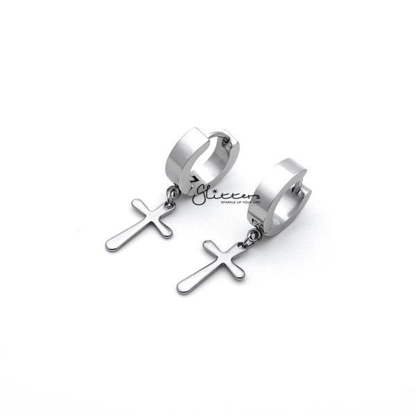 Stainless Steel Cross Drop Huggie Hoop Earrings - Silver