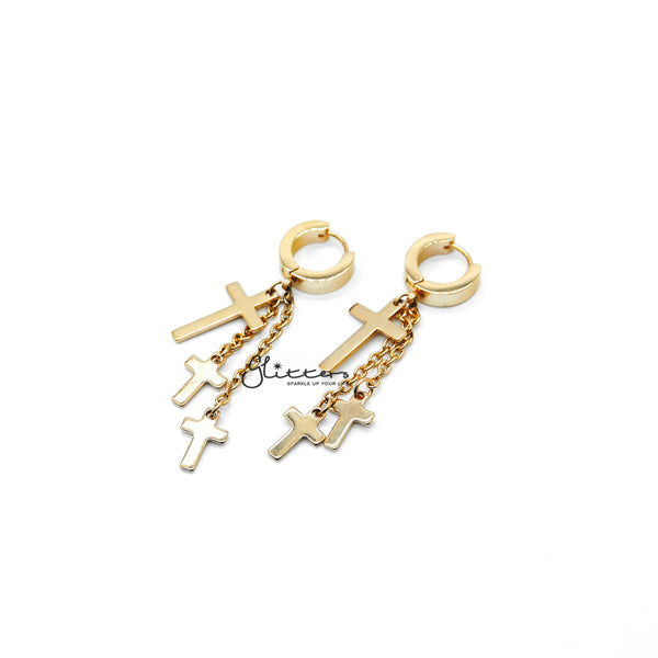 18K Gold IP Stainless Steel 3 Cross and Chain Dangle Hinged Hoop Earrings