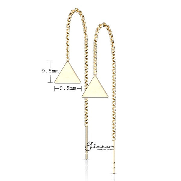Stainless Steel Free Falling Chain Earring with Solid Triangle - Gold