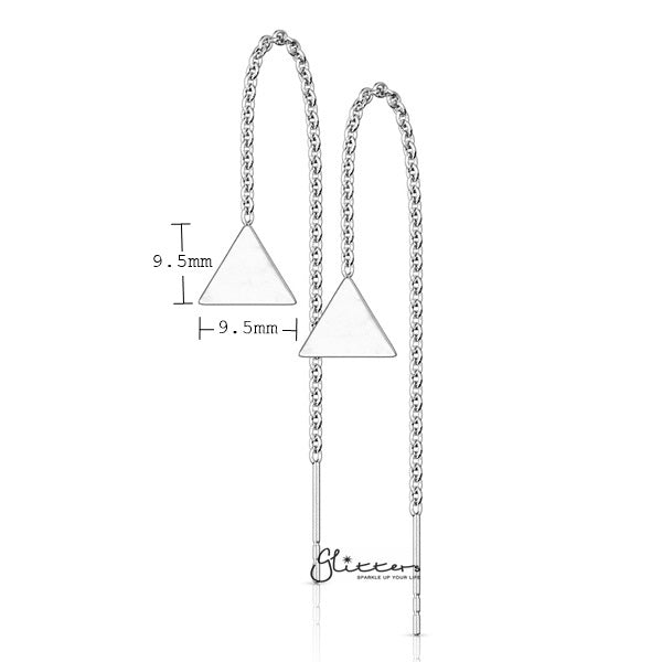 Stainless Steel Free Falling Chain Earring with Solid Triangle - Silver