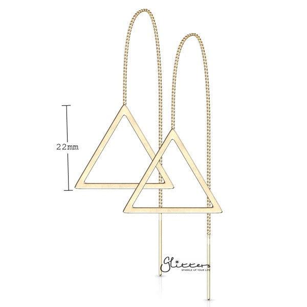 Stainless Steel Free Falling Chain Earring with Hollow Triangle - Gold
