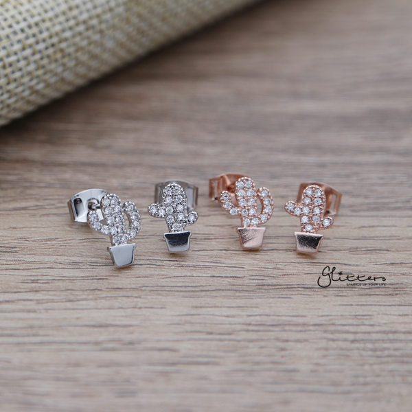 Cubic Zirconia Paved Cactus Stud Earrings with Sterling Silver Post