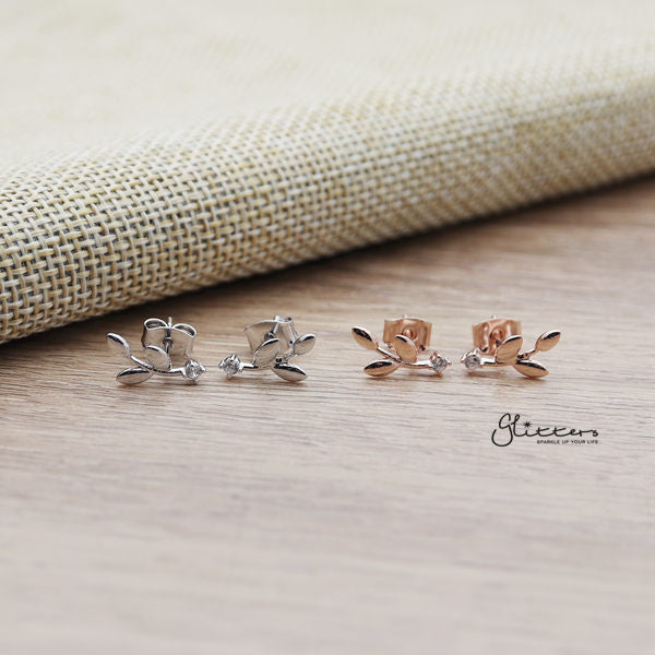 Leaf Sterling Silver Post Stud Earrings with Cubic Zirconia-Glitters-New Zealand