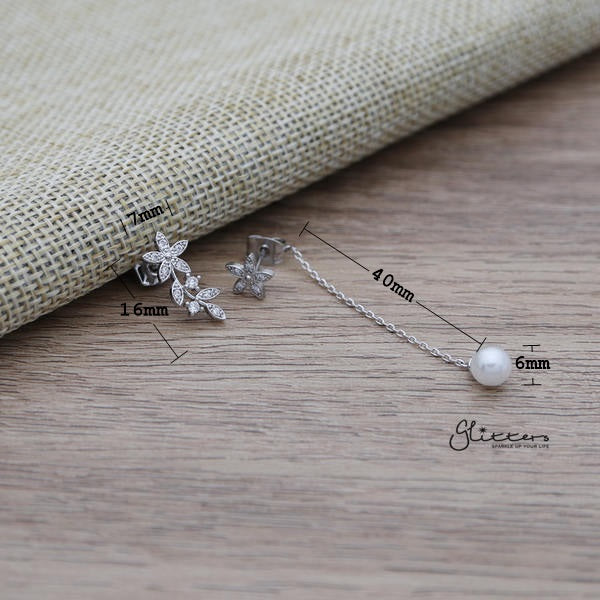 C.Z Flower Sterling Silver Post Stud Earrings with Drop Chain Pearl