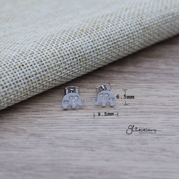 Elephant Sterling Silver Post Stud Earrings with C.Z Heart