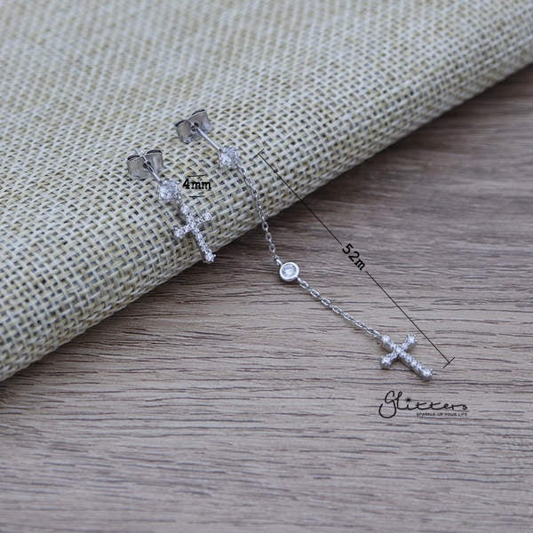 C.Z Paved Cross Sterling Silver Post Stud Earrings with Drop Chain Cross