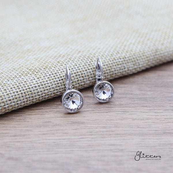 Swarovski Round Crystal Hook Earrings - 8 Colour Options-Glitters-New Zealand