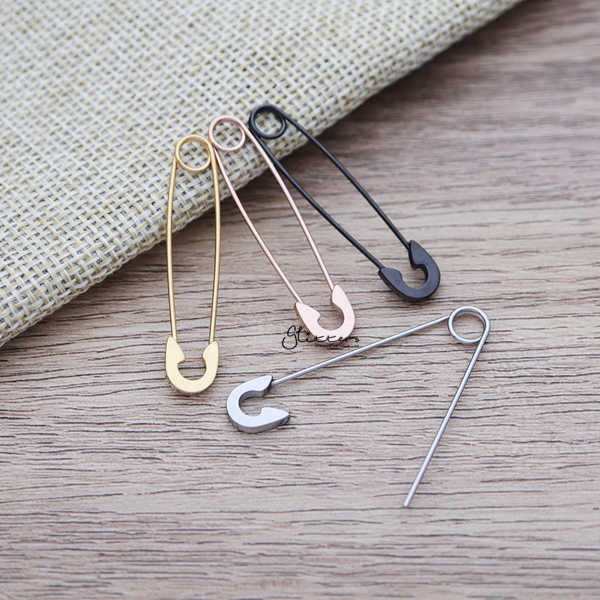 Stainless Steel Safety Pin Earrings-Glitters-New Zealand
