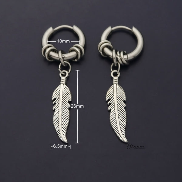 Stainless Steel Drop Feather with Rings Huggie Hoop Earring - Silver-Earrings-Glitters