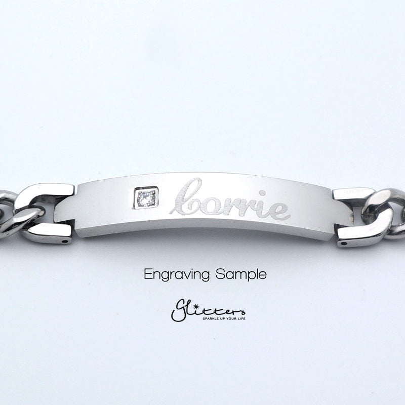 Stainless Steel Men's ID Bracelet with Cubic Zirconia Cross + Engraving-Glitters-New Zealand