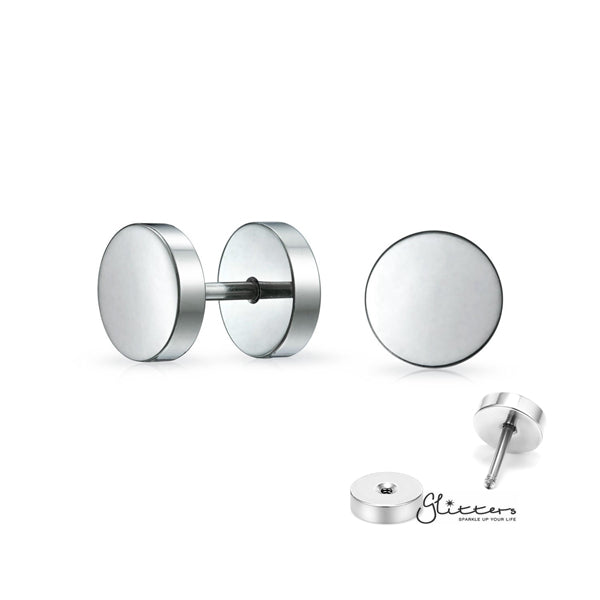 316L Stainless Steel Round Fake Plug-6mm | 8mm | 10mm-Glitters-New Zealand