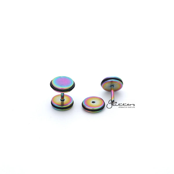 "Titanium Ion Plated Over Stainless Steel Round Fake Plug with 2 ""O"" Rings-6mm 