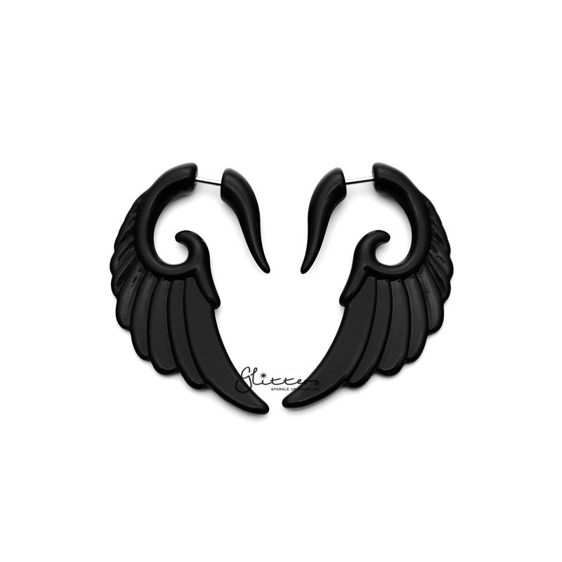 Black Acrylic Angel Wing Fake Ear Tapers with Surgical Steel Bar-Glitters-New Zealand