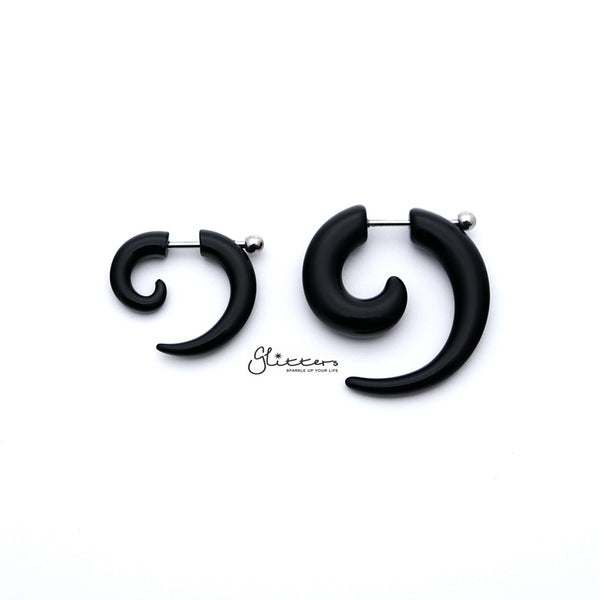 Black Acrylic Fake Spiral Ear Taper with Surgical Steel Bar-Glitters-New Zealand