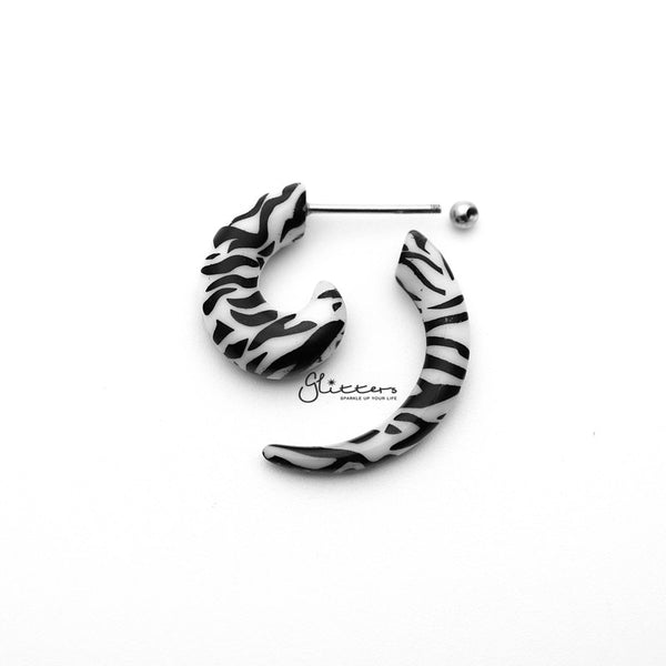 Zebra Acrylic Fake Spiral Ear Taper with Surgical Steel Bar