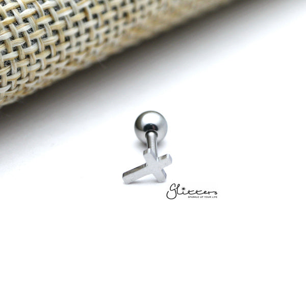 316L Surgical Steel Plain Cross Screw Back Barbell for Tragus, Cartilage, Conch, Helix Piercing and More