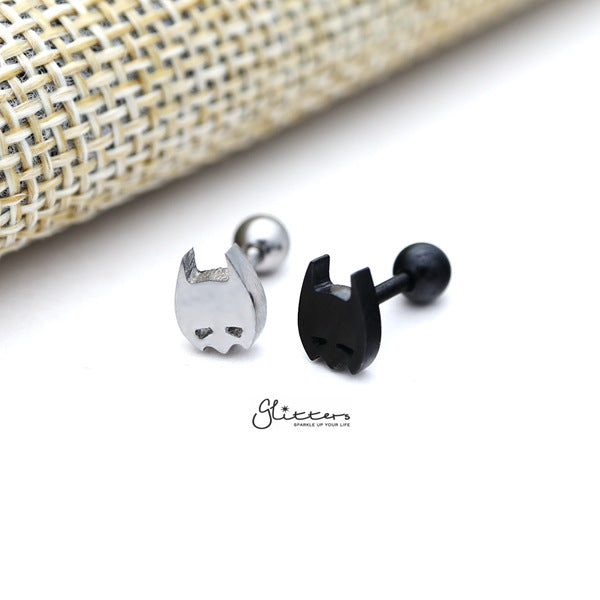 316L Surgical Steel Batman Screw Back Barbell for Tragus, Cartilage, Conch, Helix Piercing and More