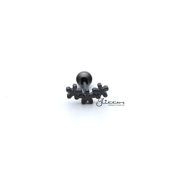 316L Surgical Steel 3 Flowers Screw Back Barbell for Tragus, Cartilage, Conch, Helix Piercing and More-Glitters-New Zealand