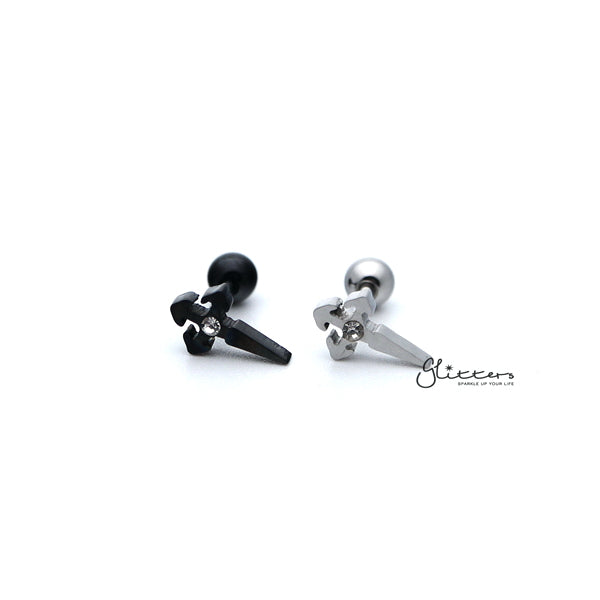 316L Surgical Steel Cross with Crystal Barbell for Tragus, Cartilage, Conch, Helix Piercing and More