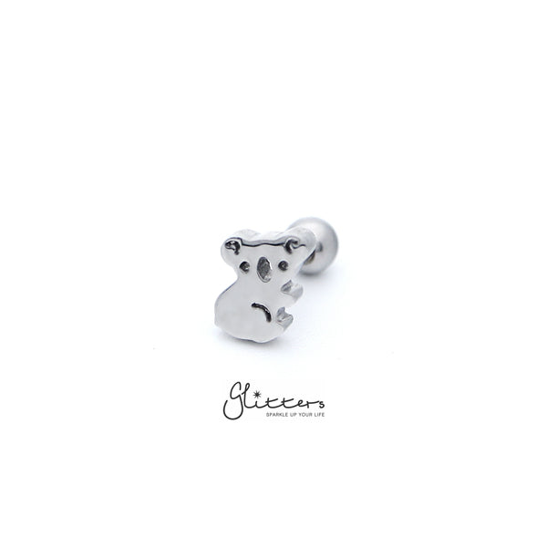 316L Surgical Steel Koala Screw Back Barbell for Tragus, Cartilage, Conch, Helix Piercing and More