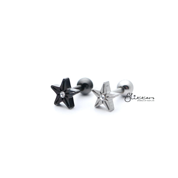 316L Surgical Steel Star with Crystal Barbell for Tragus, Cartilage, Conch, Helix Piercing and More-Glitters-New Zealand