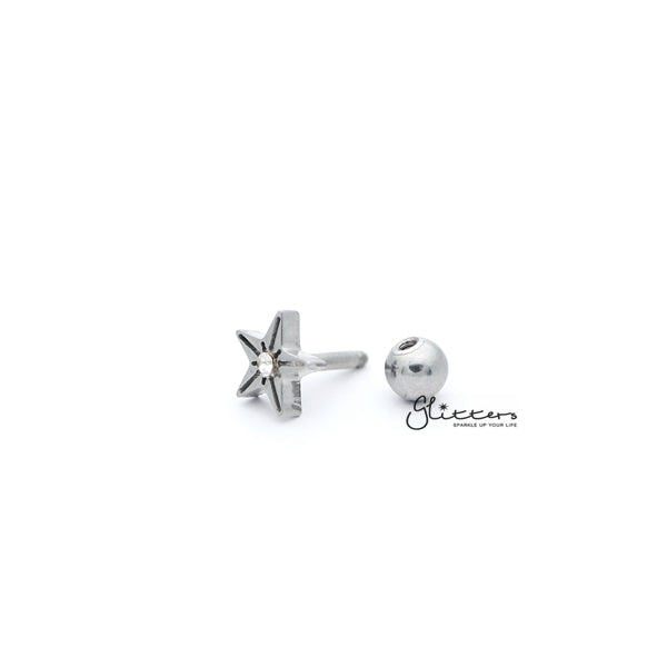 316L Surgical Steel Star with Crystal Barbell for Tragus, Cartilage, Conch, Helix Piercing and More