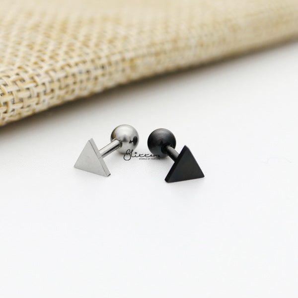316L Surgical Steel Triangle Screw Back Barbell for Tragus, Cartilage, Conch, Helix Piercing and More-Glitters-New Zealand