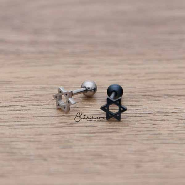 316L Surgical Steel Star of David Barbell for Tragus, Cartilage, Conch, Helix Piercing and More