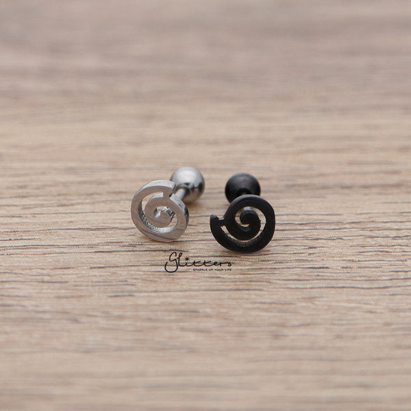 316L Surgical Steel Spiral Barbell for Tragus, Cartilage, Conch, Helix Piercing and More