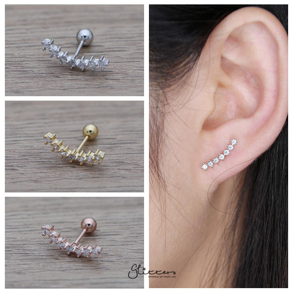 7 Cubic Gems Curved Screw Back Barbell for Tragus, Cartilage, Conch, Helix piercing and More-Glitters-New Zealand