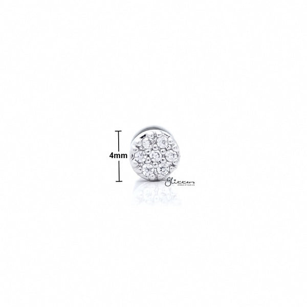 C.Z Paved Circle Tragus Barbell - Ball End | Flat Back-Tragus Barbell-Glitters