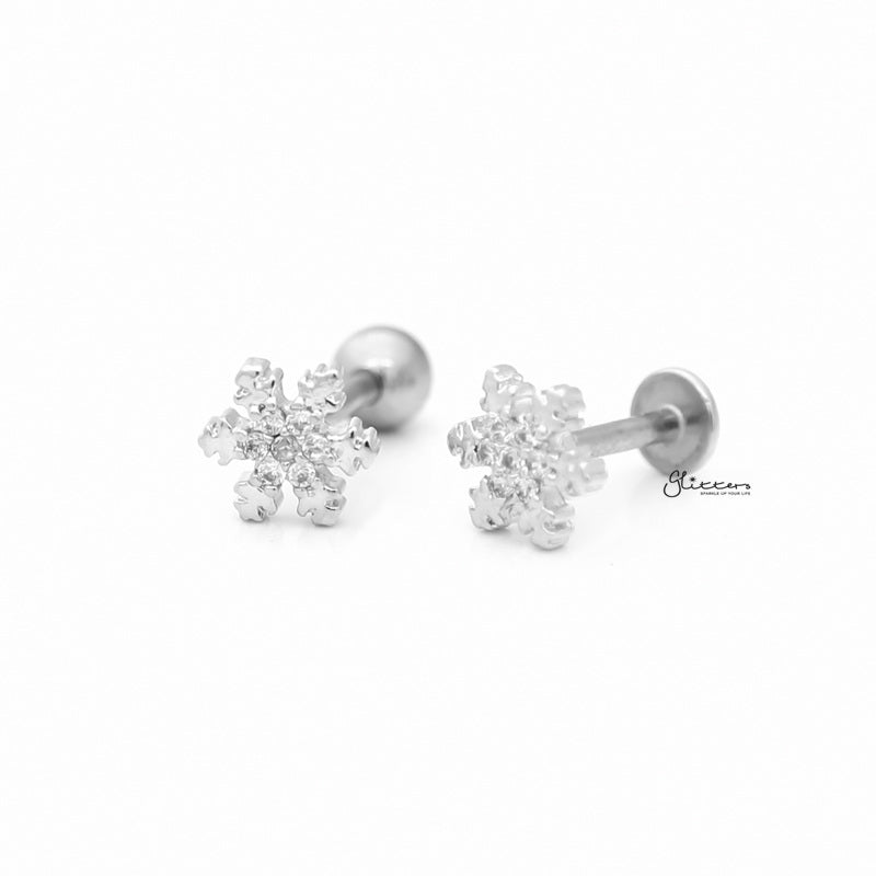 C.Z Snowflake Cartilage Tragus Barbell - Ball End | Flat Back-Tragus Barbell-Glitters