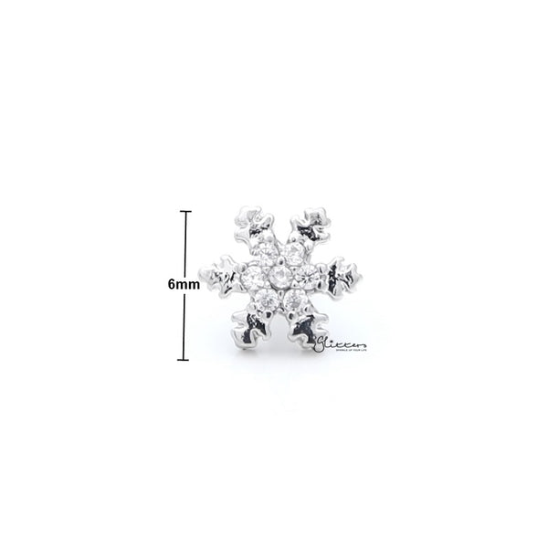 C.Z Snowflake Cartilage Tragus Barbell - Ball End | Flat Back