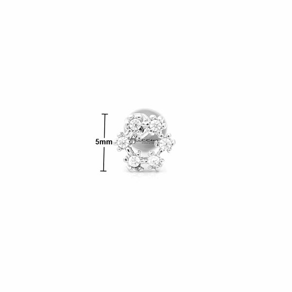 C.Z Hollow Circle Tragus Barbell - Ball End | Flat Back-Tragus Barbell-Glitters
