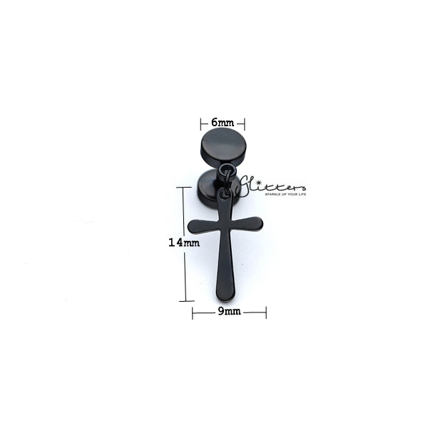 Stainless Steel Drop Cross Fake Plug Earrings - Black