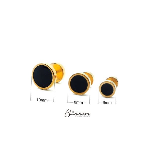 18K Gold I.P over Stainless Steel Men's Round Fake Plug with Black Center-6mm | 8mm | 10mm-Glitters-New Zealand