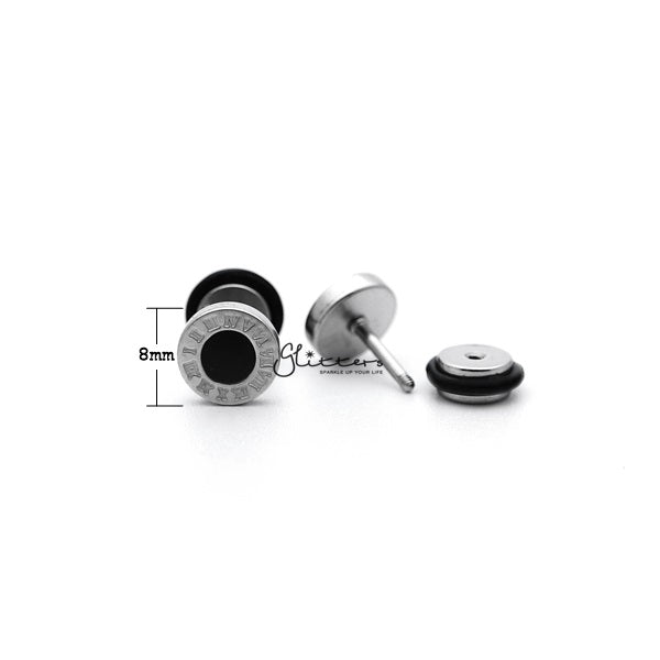 Stainless Steel Roman numerals Round Fake Plug with Black Center