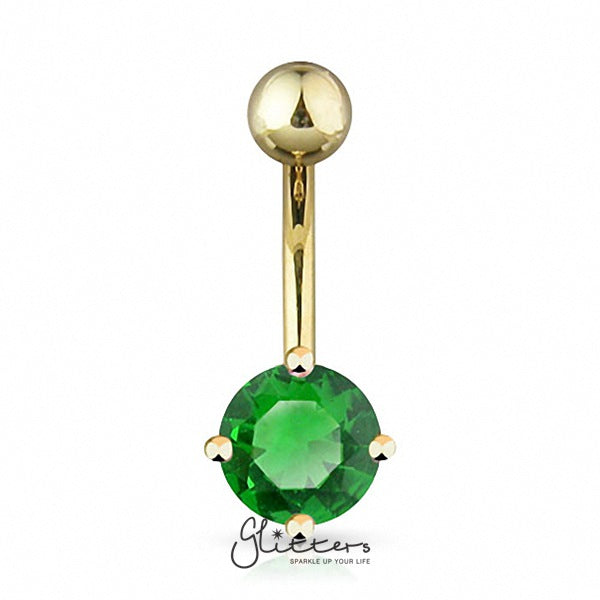 18K Gold Ion Plated Green Round CZ Prong Set Belly Button Ring-Glitters-New Zealand