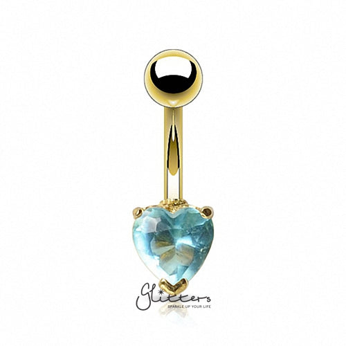 18K Gold Ion Plated Aqua Heart C.Z Prong Set Belly Button Ring-Glitters-New Zealand