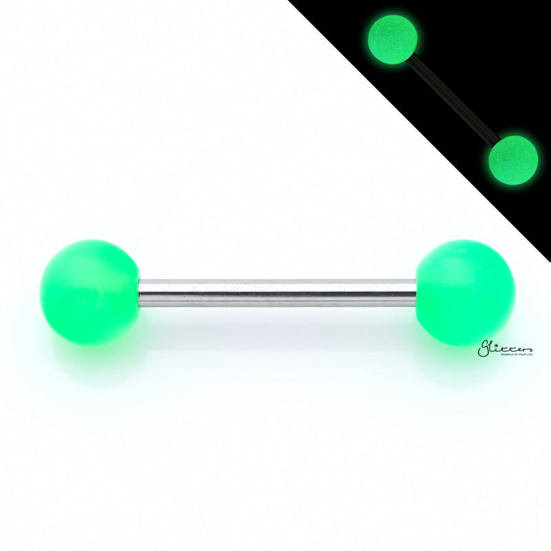 Glow In The Dark Ball Tongue Barbell - Green-Tongue Bar-Glitters