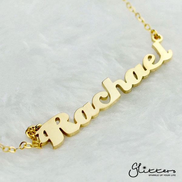 Personalized 24K Gold Plated Sterling Silver Name Necklace-Script 2-Glitters