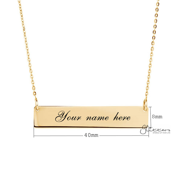 Personalized 24K Gold Plated Sterling Silver Horizontal Name Bar Necklace - Large