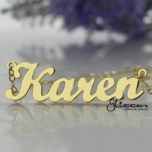 Personalized 24K Gold Plated over Sterling Silver Name Necklace-Glitters-New Zealand
