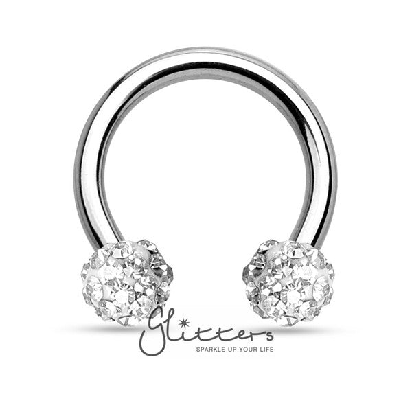 White Crystal Paved Ferido Balls Surgical Steel Circular Horseshoe Barbell-Glitters