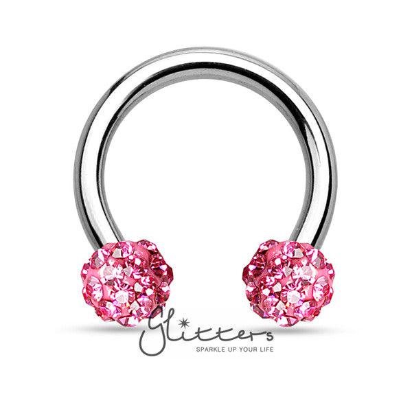 Pink Crystal Paved Ferido Balls Surgical Steel Circular Horseshoe Barbell-Glitters-New Zealand