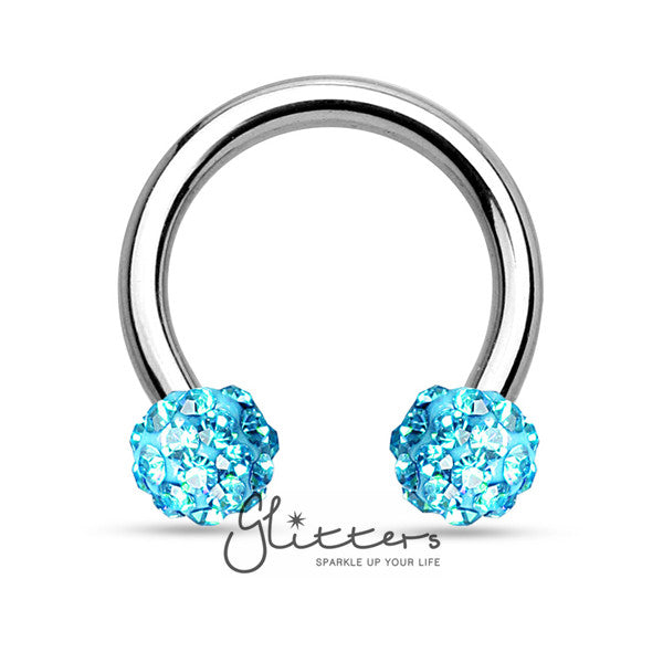 Aqua Crystal Paved Ferido Balls Surgical Steel Circular Horseshoe Barbell-Glitters-New Zealand