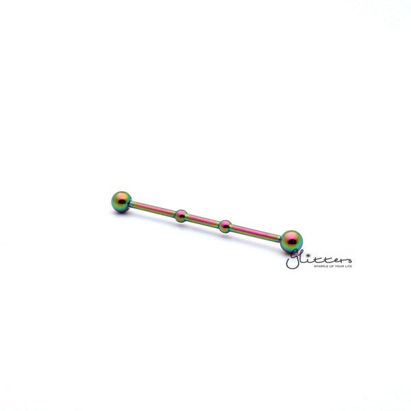 Two Notched Rainbow Titanium Ion Plated over Surgical Steel Balls Industrial Barbells